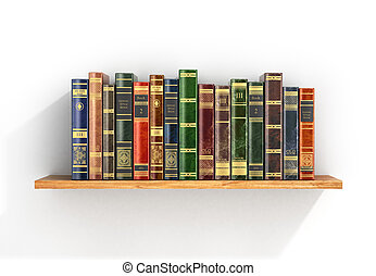 Colorful books on the wood shelf.