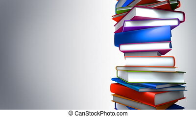 Colorful Books Stack (Loop) - Colorful books piled. Seamless...