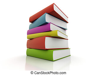 Colorful books stacked on white background