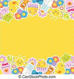 Colorful border Frame background with children and kids toys and symbols