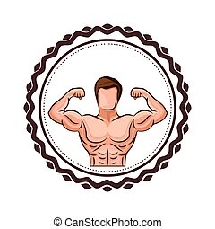 colorful border with half body muscle man