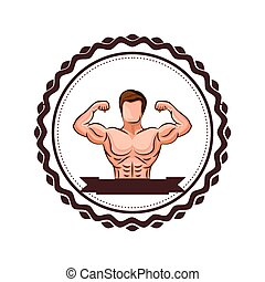 colorful border with half body muscle man and label