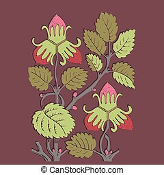 Colorful botanical hand drawn strawberry bush isolated on vinous