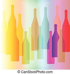 Colorful bottle on background