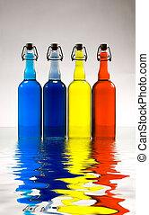 Colorful bottles. Modern art
