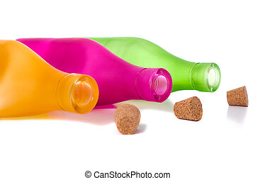 Colorful Bottles on White