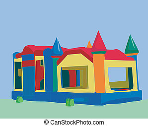 colorful bounce castle - illustration of a bounce castle...