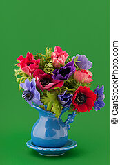 Colorful bouquet Anemones - Little vase with colorful...