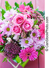 Colorful Bouquet - Colorful bouquet with fresh pink gerbera ...