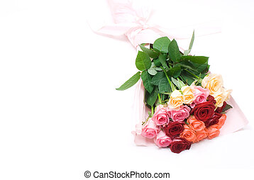 Colorful bouquet - Colorful rose bouquet isolated on white ...