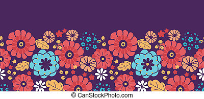 Colorful bouquet flowers horizontal seamless pattern border