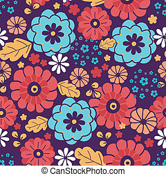 Colorful bouquet flowers seamless pattern background