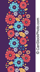 Colorful bouquet flowers vertical seamless pattern border -...