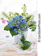 Colorful bouquet in vintage zinc pot - Colorful bouquet with...