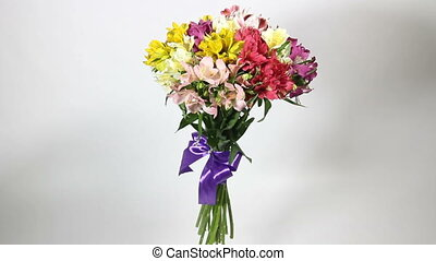 colorful bouquet of alstroemeria turns - colorful flowers...