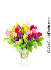 colorful bouquet of fresh tulips
