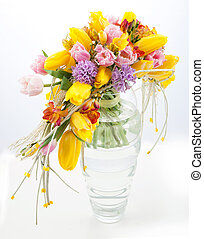 Colorful bouquet of spring flowers in vase