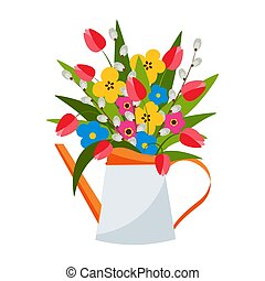Colorful bouquet of spring flowers, tulips, pussy willow in pot. Vector illustration.