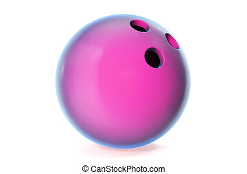 Colorful bowling ball isolated on white background. 3d illustration