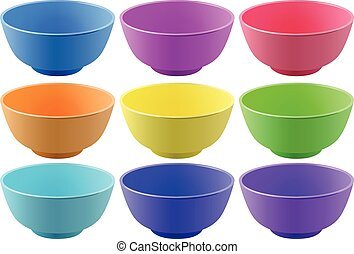 Plastic bowls in nine different colors