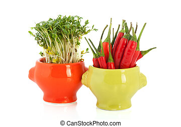Colorful bowls with cress and red pepper