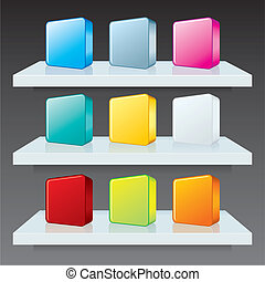 Colorful Box Icons on Shelves. Vector Template
