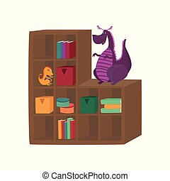 Colorful boxes, books and dragon toys on cabinet shelves cartoon vector Illustration