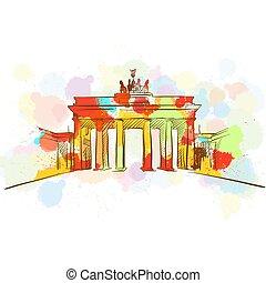 Colorful Brandenburg Gate Sketch