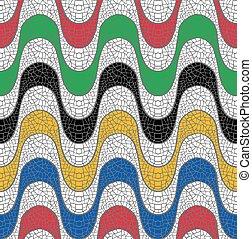 Colorful mosaic design of Brazil beach sidewalk, geometric seamless pattern wave shape background. EPS10 vector.