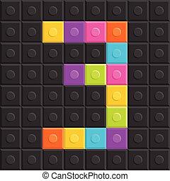colorful brick block number 3, flat design