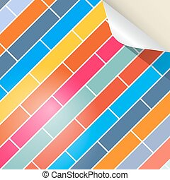 Colorful Brick Vector Background with Bent Paper Corner