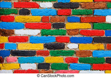 Colorful brick wall. Unique background, pattern.