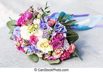 Colorful bridal wedding bouquet