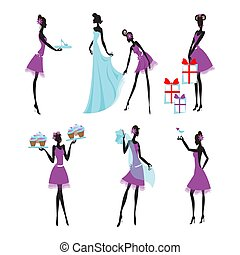 Colorful Bridesmaids Set - Colorful bridesmaids set with...