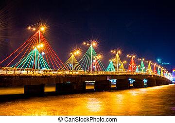 Colorful bridge in Nha Trang night view.