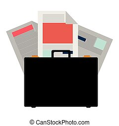 colorful briefcase and documents office
