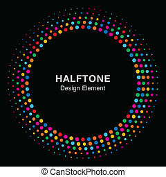 Colorful Bright Abstract Halftone Design Element on black background