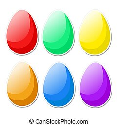 Colorful bright Easter eggs in cartoon style on white. Stock...