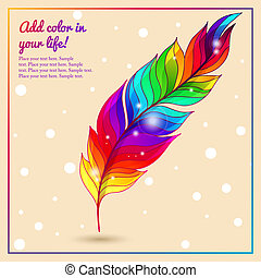 Colorful bright feather with lights rainbow