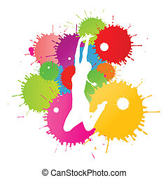Colorful bright ink splashes and happy person vector background