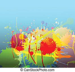 Colorful bright ink splashes background