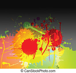 Colorful bright ink splashes on dark background