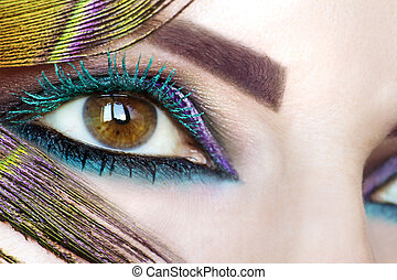 Colorful bright makeup on brown eye
