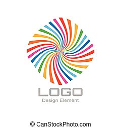Colorful Bright Rainbow Spiral Logo.
