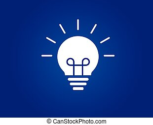 colorful bright simple glowing idea light bulb with blue background