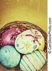 broken easter eggs in a basket