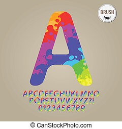 Colorful Brush Alphabet and Digit Vector