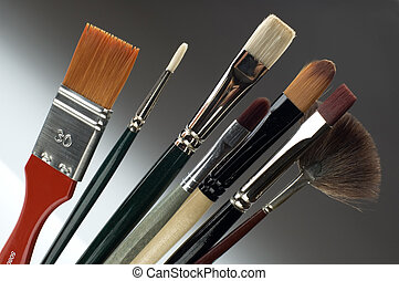 brushes - colorful brushes on a gradient background