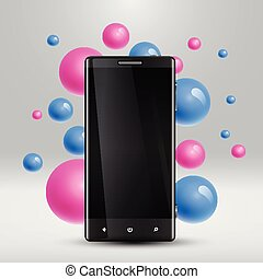 Colorful bubbles floating around a realistic smartphone for business, vector illustration
