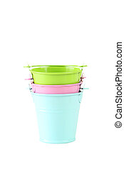 Colorful buckets isolated on white